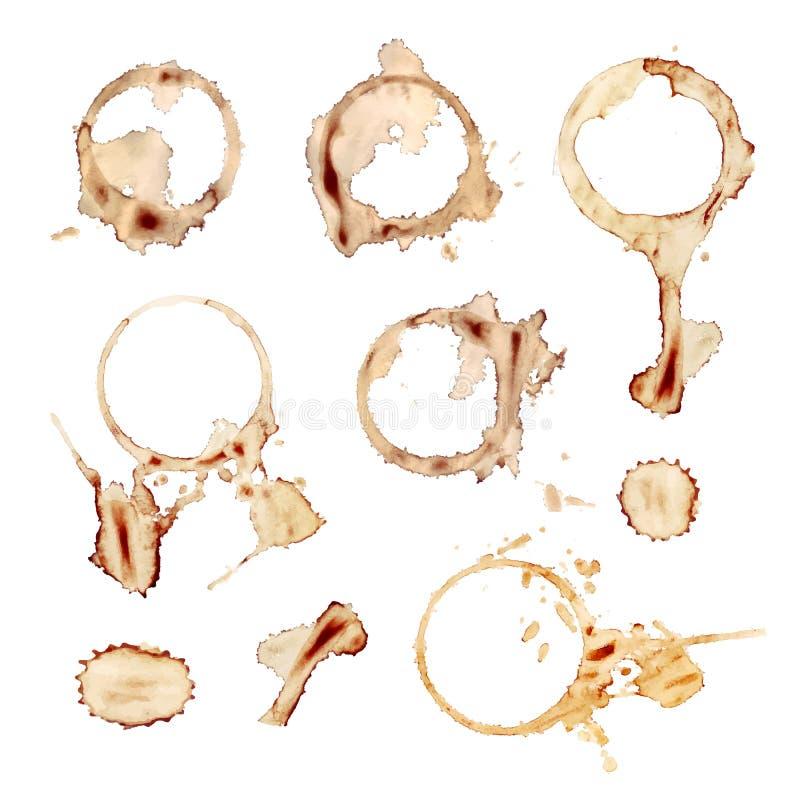Vektoruppsättningen av kaffe plaskar, isolerade designbeståndsdelar, rånar tryck royaltyfri illustrationer