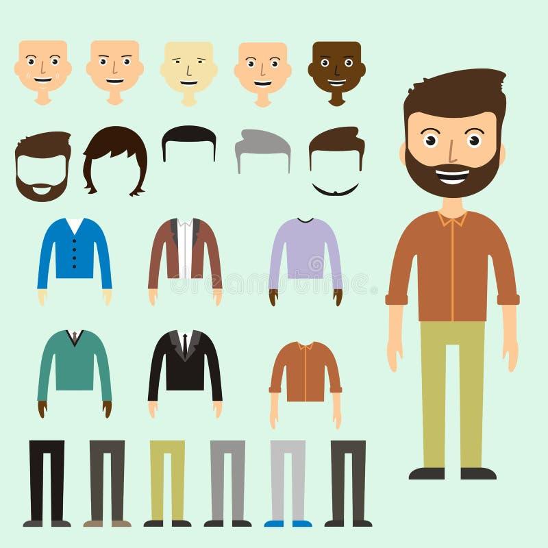 Vektoruppsättningen av klär upp konstruktörn med olika män i moderiktigt vektor illustrationer