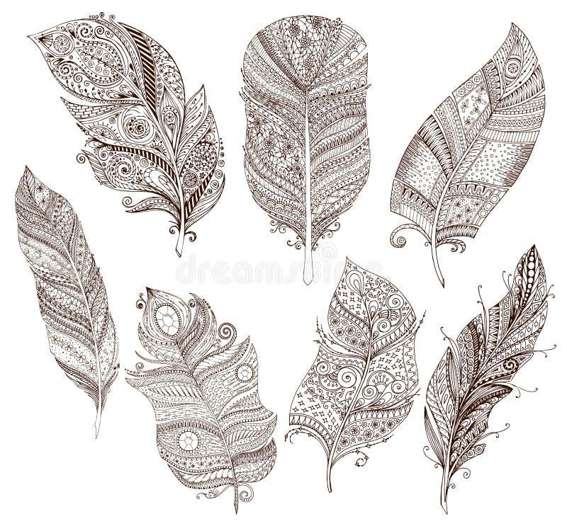Vektoruppsättningen av klottret befjädrar på vit bakgrund royaltyfri illustrationer