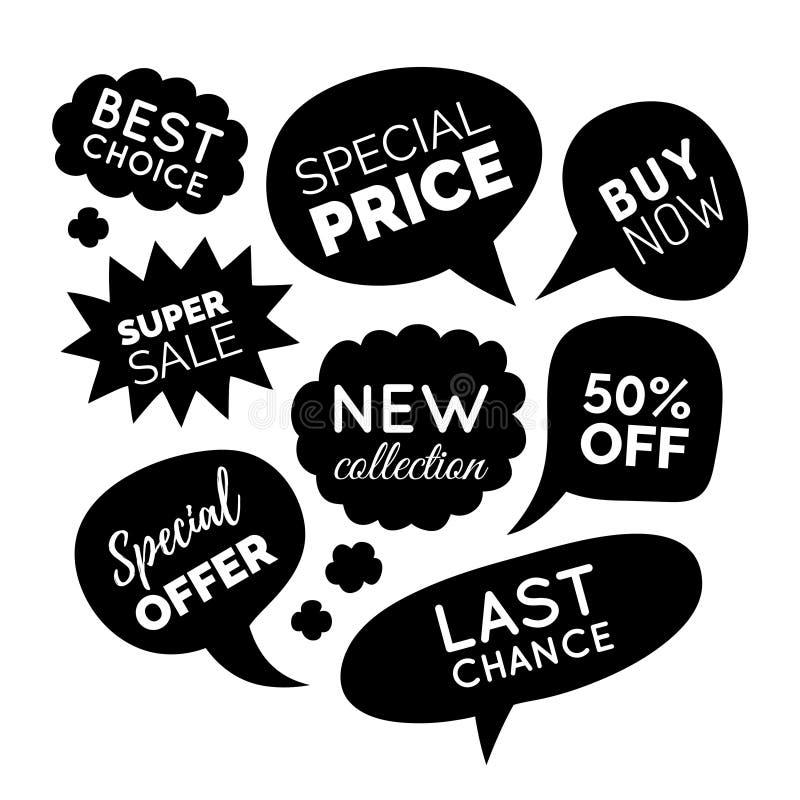 Vektoruppsättningen av komiskt anförande bubblar med försäljningsuttryck Avfärda kortsamlingen, köpet nu, det speciala erbjudande stock illustrationer