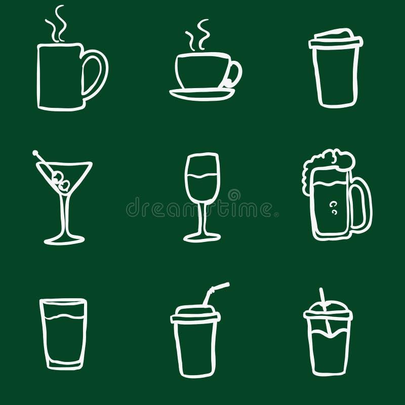 Vektoruppsättningen av kritaklottret dricker symboler stock illustrationer