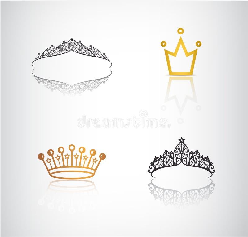 Vektoruppsättningen av kronor, tiaror, snör åt och enkla kronalogoer, symboler royaltyfri illustrationer