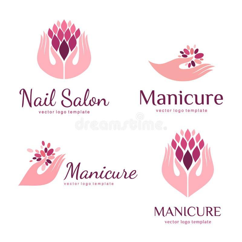 Vektoruppsättningen av logoer för manikyr och spikar salongen royaltyfri illustrationer
