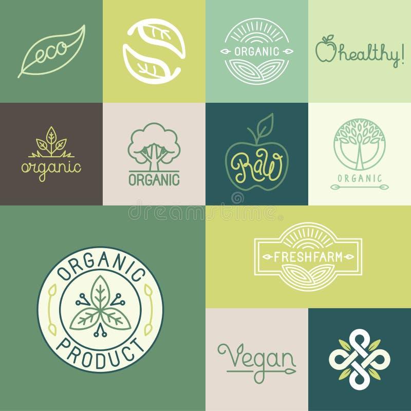 Vektoruppsättningen av naturligt som är organisk, strikt vegetarian förser med märke vektor illustrationer