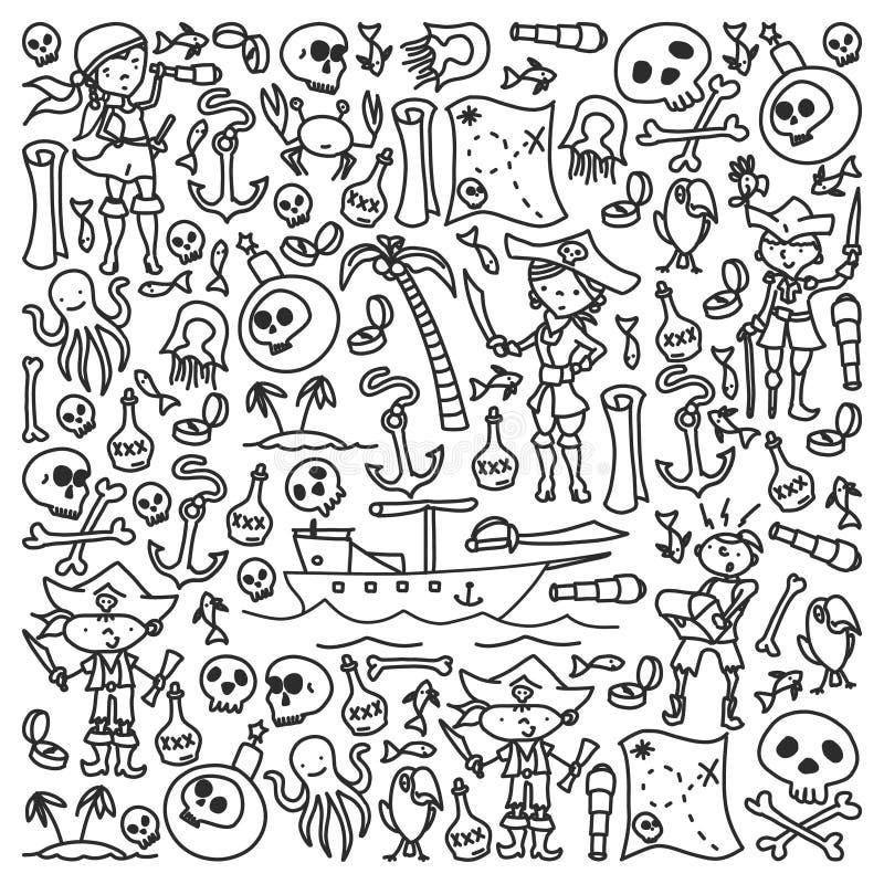 Vektoruppsättningen av piratkopierar barns teckningssymboler i klotterstil Målad svart monokrom, bilder på ett stycke av papper vektor illustrationer