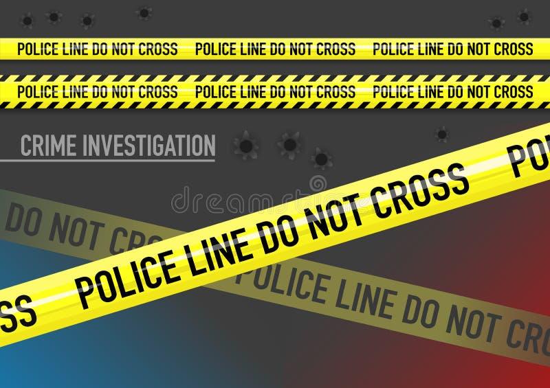 Vektoruppsättningen av polislinjen korsar inte bandet och kulhål stock illustrationer