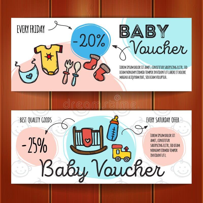 Vektoruppsättningen av rabattkuponger för behandla som ett barn gods Färgrika klotterkupongmallar Nyfödd tillbehör- och kläderpro vektor illustrationer