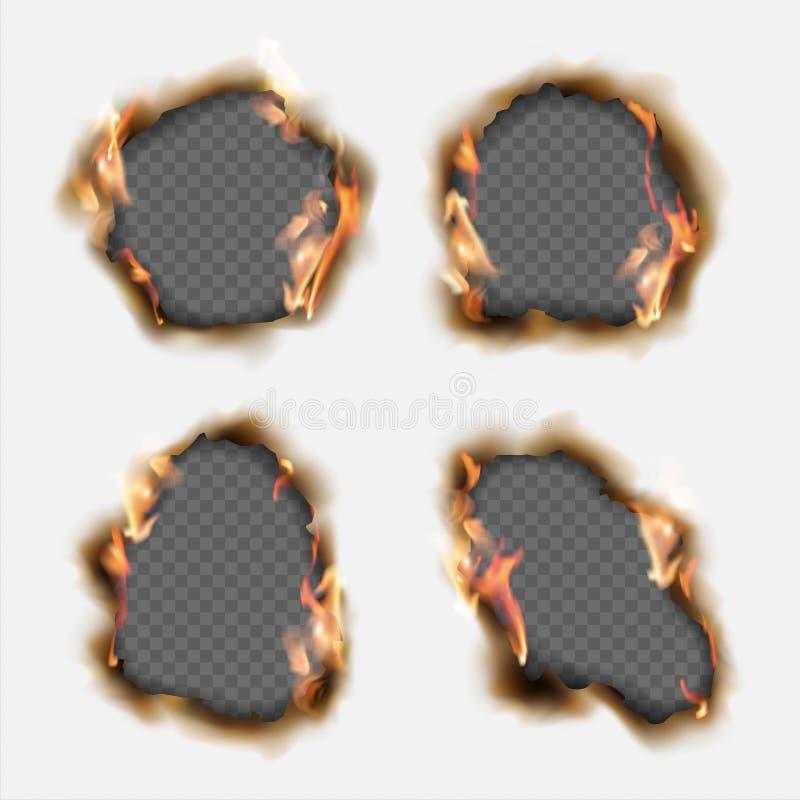 Vektoruppsättningen av realistiska hål brände i papper med bruntkanter vektor illustrationer