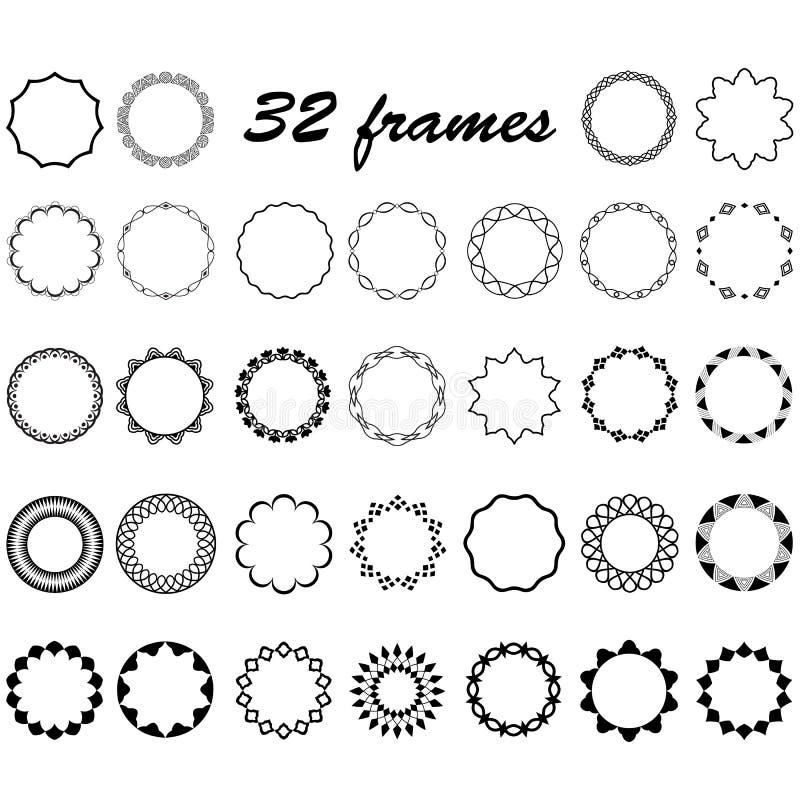 Vektoruppsättningen av rundan och runda tömmer ramar för garnering stock illustrationer