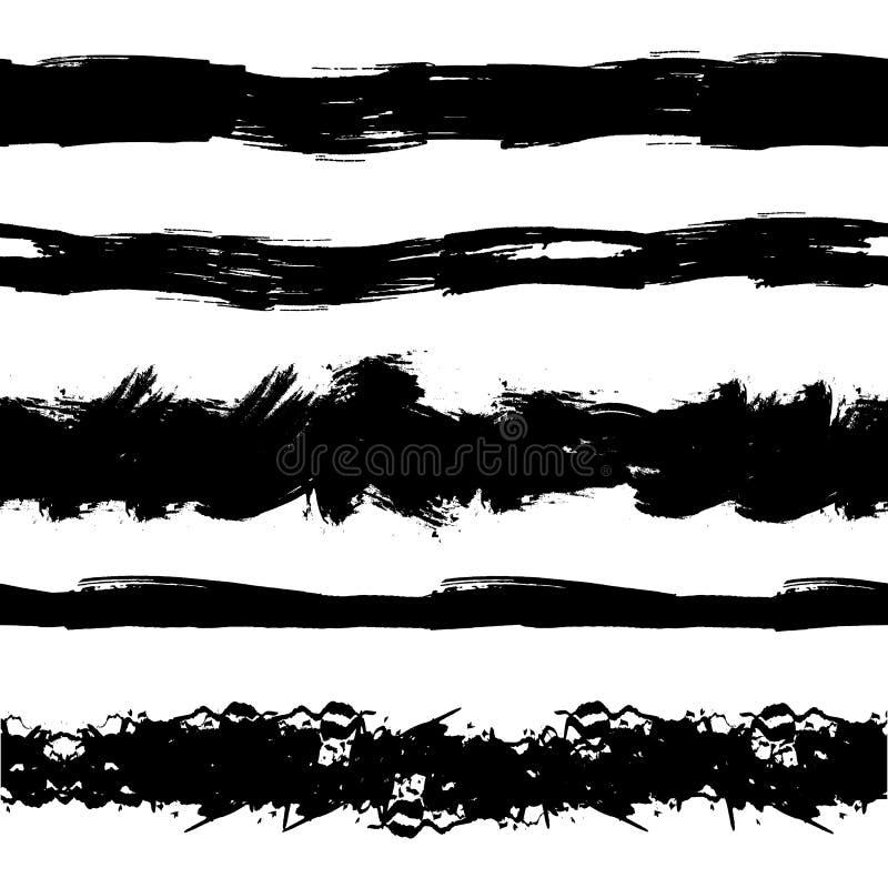 Vektoruppsättningen av sömlösa Painr drog Stipes, borsteslaglängder, svart färgpulver plaskar vektor illustrationer