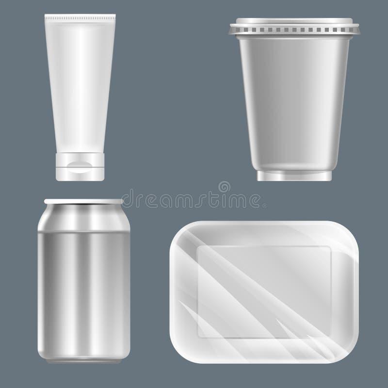 Vektoruppsättningen av silverplast- kan med dryckcanen vektor illustrationer