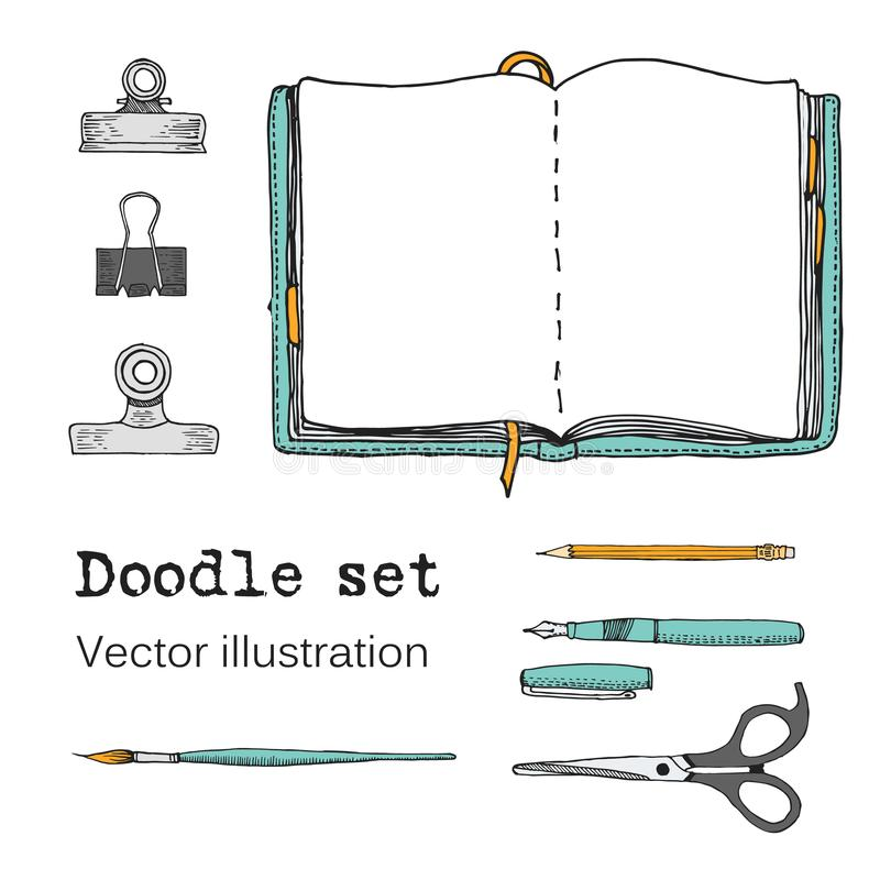 Vektoruppsättningen av skissar anteckningsböcker, Notepads och dagböcker Kontorsmaterial Klottra brevpapper, skriva, rita, sax Fä vektor illustrationer