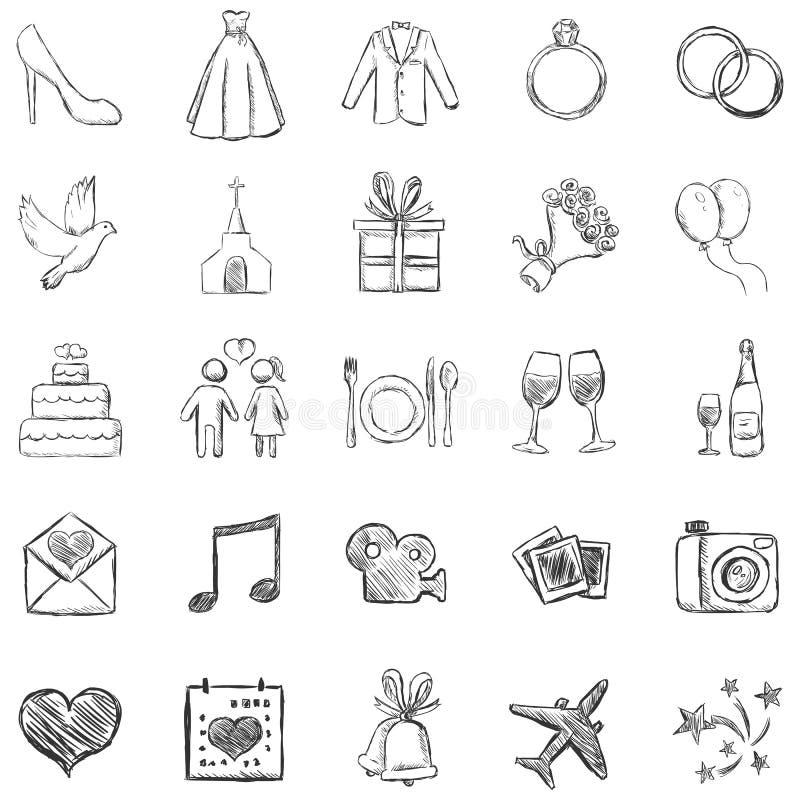 Vektoruppsättningen av skissar bröllopsymboler royaltyfri illustrationer