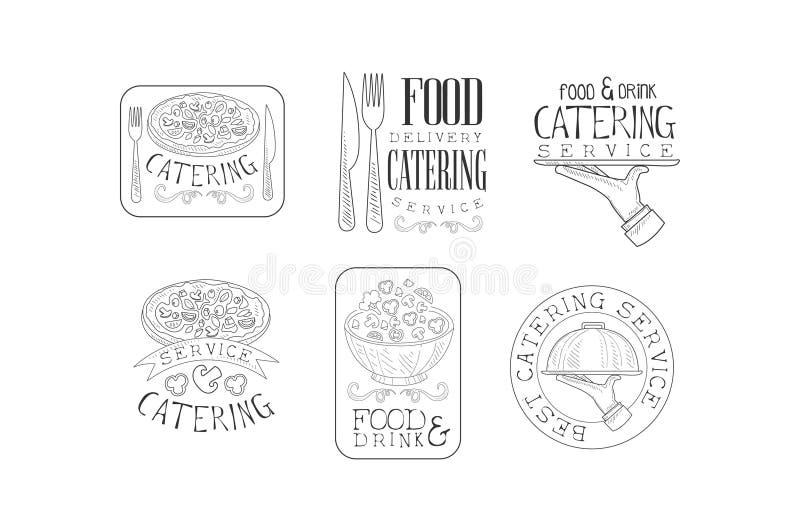 Vektoruppsättningen av skissar emblem för sköta om eller mathemsändningar Räcka utdragna logoer med mat, bestick som tjänar som m vektor illustrationer