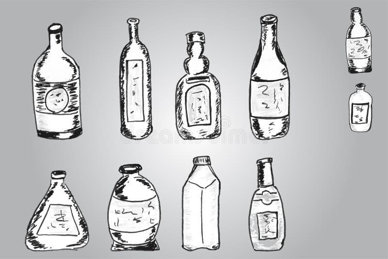 Vektoruppsättningen av skissar flaskor royaltyfri illustrationer