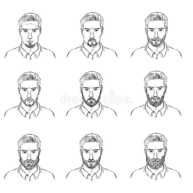 Vektoruppsättningen av skissar mäns framsidor med skägg royaltyfri illustrationer
