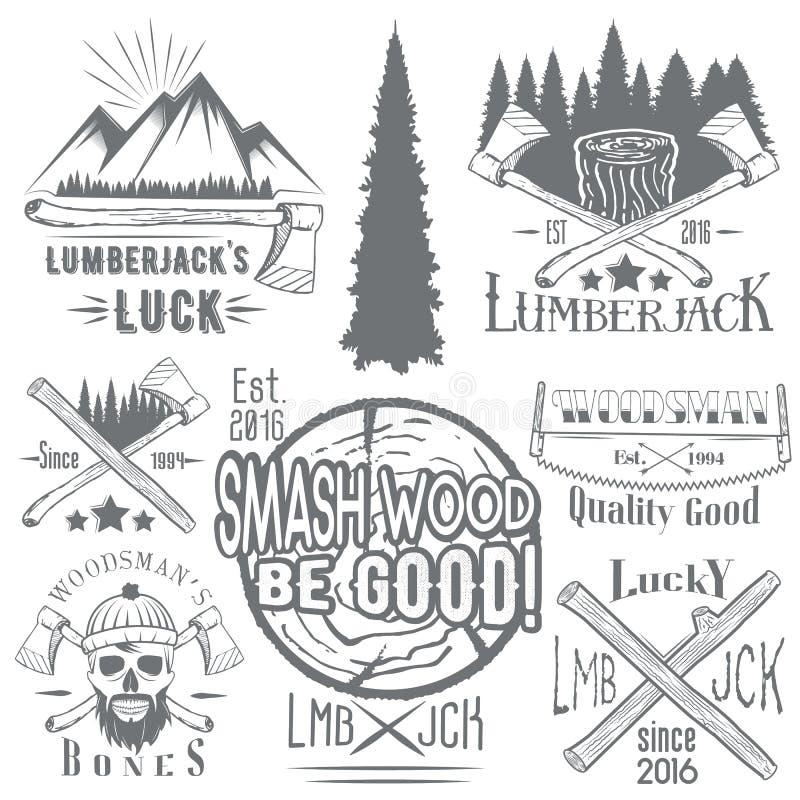 Vektoruppsättningen av skogsarbetare- och skogsarbetarevektoretiketter i tappning utformar Wood arbete, tillverkningemblemmallar vektor illustrationer