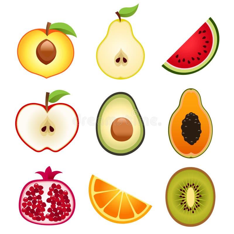 Halvera fruktsymboler royaltyfri illustrationer
