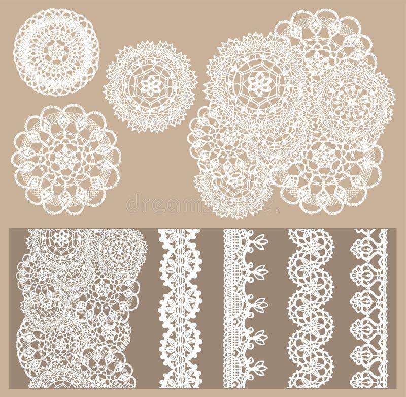 Vektoruppsättningen av 4 stack delikat snör åt och 5 sömlösa gränser royaltyfri illustrationer