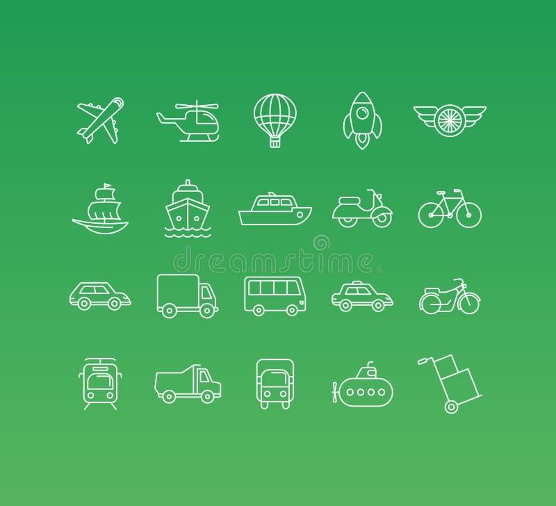 Vektoruppsättningen av 20 symboler och undertecknar in den mono linjen stil stock illustrationer