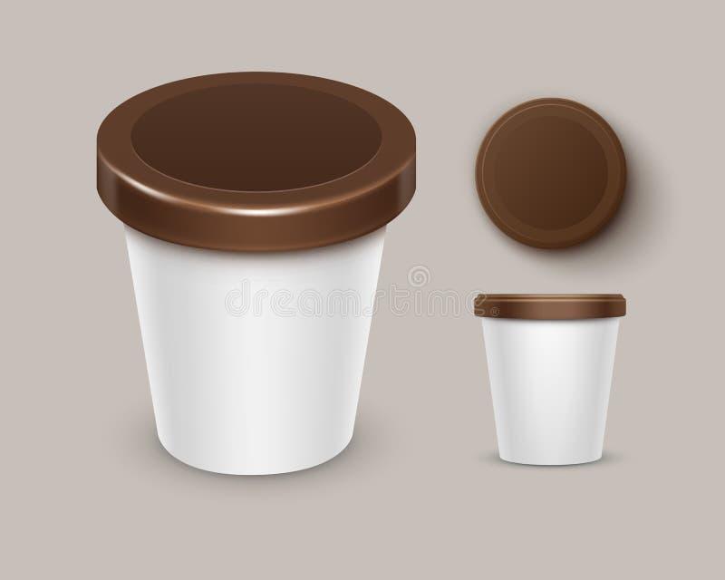 Vektoruppsättningen av tom matplast- badar hinkbehållaren för chokladefterrätten, yoghurten, sikt för bästa sida för glass som is vektor illustrationer