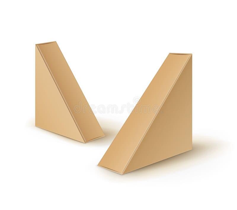 Vektoruppsättningen av triangeln för bruntmellanrumspapp tar bort askar som förpackar för smörgåsen, mat, gåvan, annan produktåtl royaltyfri illustrationer