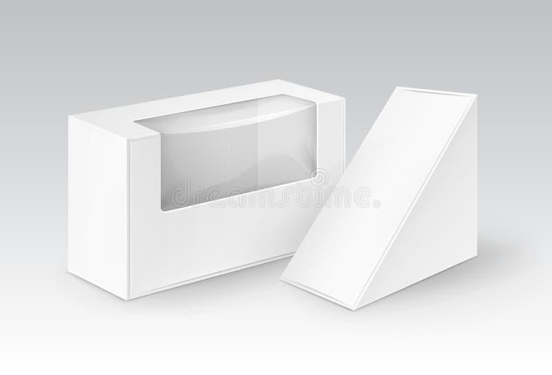 Vektoruppsättningen av triangeln för rektangeln för vitmellanrumspapp tar bort askar som förpackar för smörgåsen, mat royaltyfri illustrationer