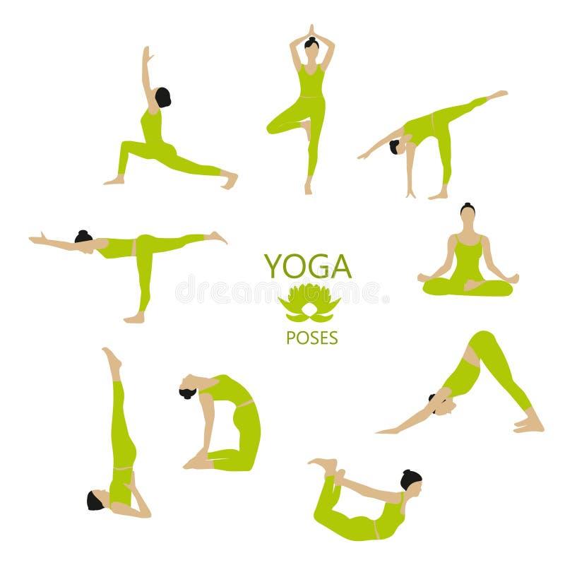 Vektoruppsättningen av yoga poserar Flickan gör yogaövningar stock illustrationer