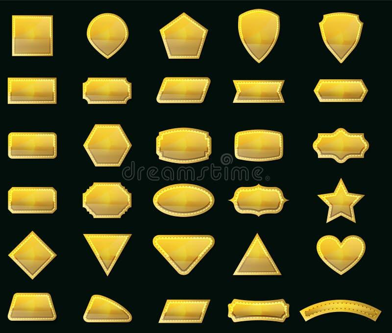 Vektoruppsättningen formar och guldetiketter för meddelande royaltyfri illustrationer