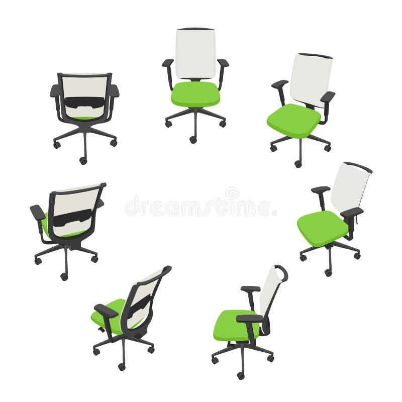Vektoruppsättningen med gräsplan isolerade kontorsstolar i olika sikter stock illustrationer