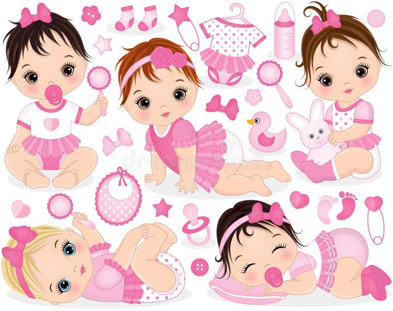 Vektoruppsättningen med gulligt behandla som ett barn flickor, leksaker och tillbehör royaltyfri illustrationer