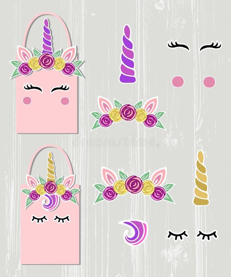 Vektoruppsättningen med Unicorn Tiara, Unicorn Horn, virvel, synar vektor illustrationer