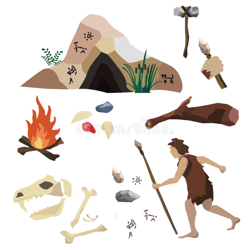 Vektoruppsättningen om stenåldern, urinnevånare mans liv, hans hjälpmedel och hus Det inkluderar grottan, vaggar målning, spjut royaltyfri illustrationer