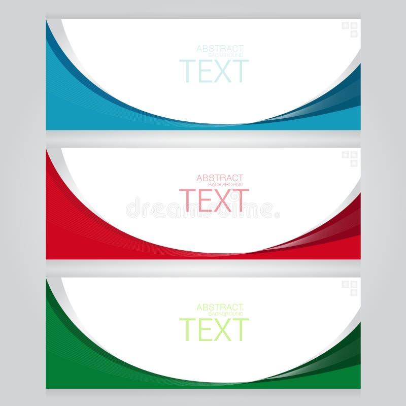 Vektoruppsättninguppsättningen av tre baner gör sammandrag titelrader med blå röd gräsplan royaltyfri illustrationer