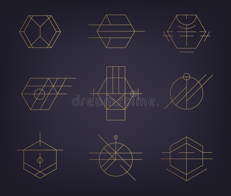 Vektorupps?ttning av abstrakta geometriska logoer Art déco hipster, guld- linje royaltyfri illustrationer