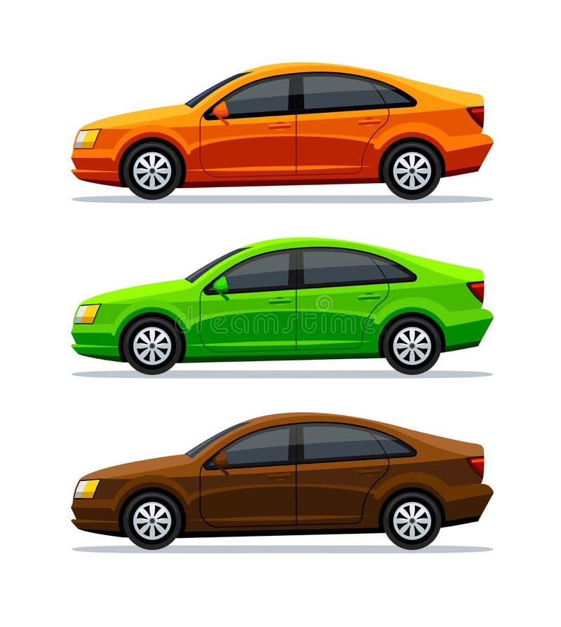 Vektorupps?ttning av bilar som isoleras p? vit bakgrund Slapp fokus sedan Den gröna orange och brun automatiskn för elbil, och vektor illustrationer