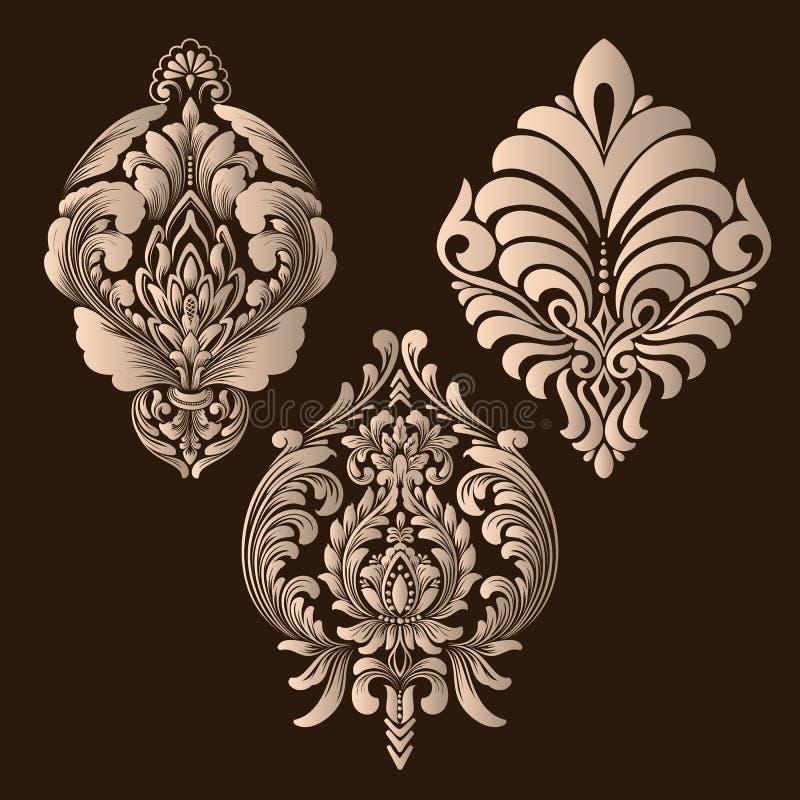 Vektorupps?ttning av damast dekorativa best?ndsdelar Eleganta blom- abstrakta best?ndsdelar f?r design G?ra perfekt f?r inbjudnin royaltyfri illustrationer