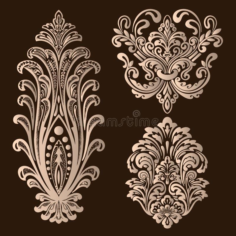 Vektorupps?ttning av damast dekorativa best?ndsdelar Eleganta blom- abstrakta best?ndsdelar f?r design G?ra perfekt f?r inbjudnin stock illustrationer
