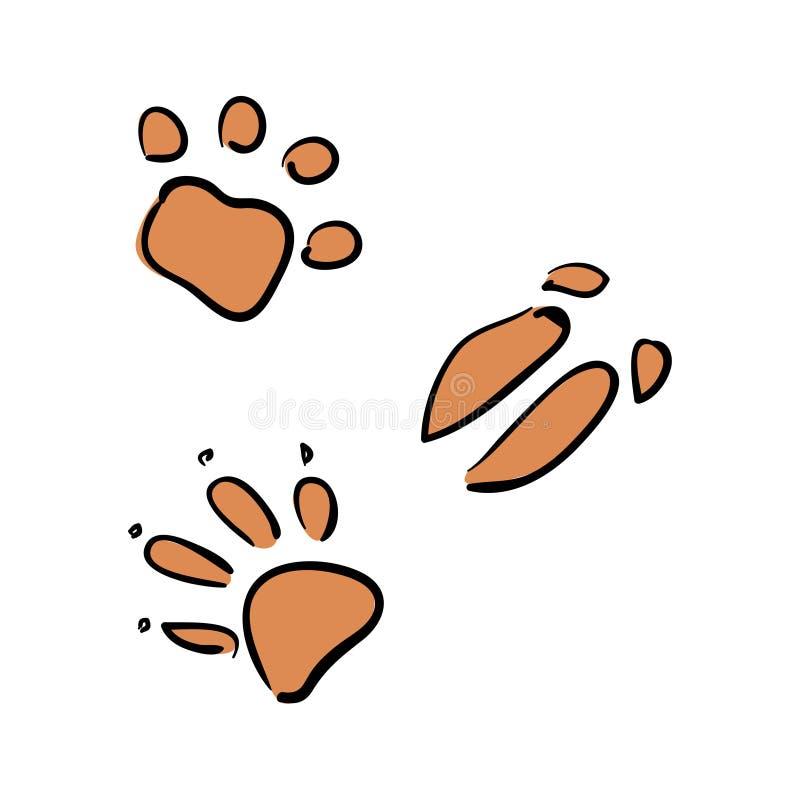 Vektorupps?ttning av djura sp?r exponeringsb?rbar datorlampa skissar stil varg r?v, galt, bj?rn vektor illustrationer