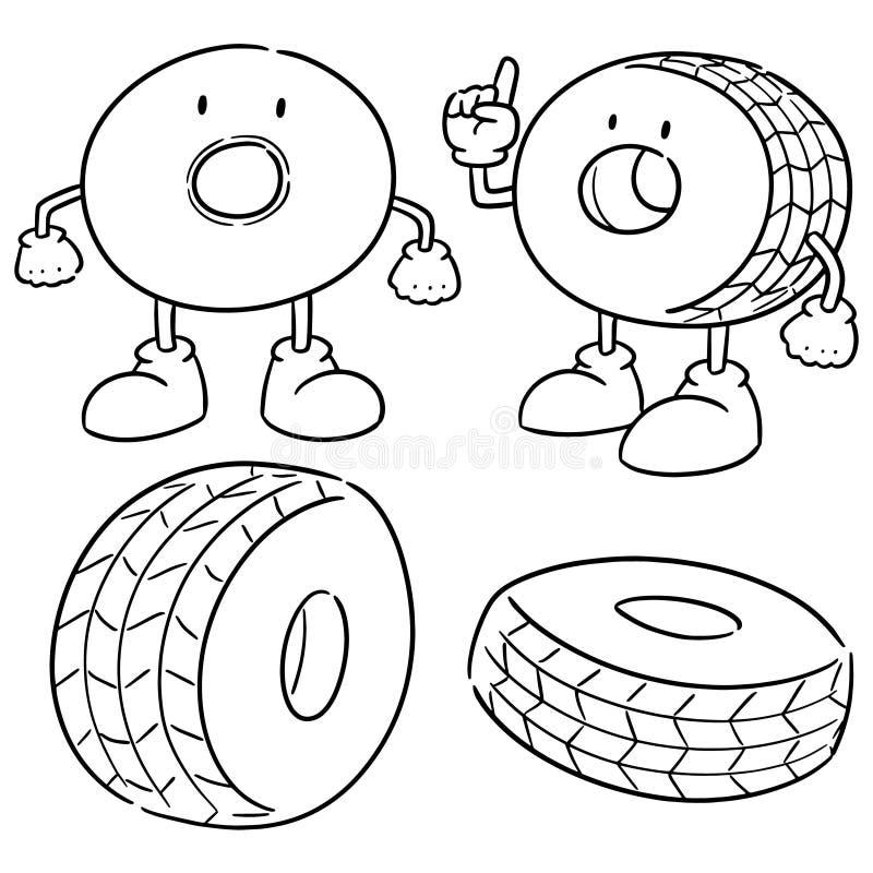 Vektorupps?ttning av gummihjul vektor illustrationer