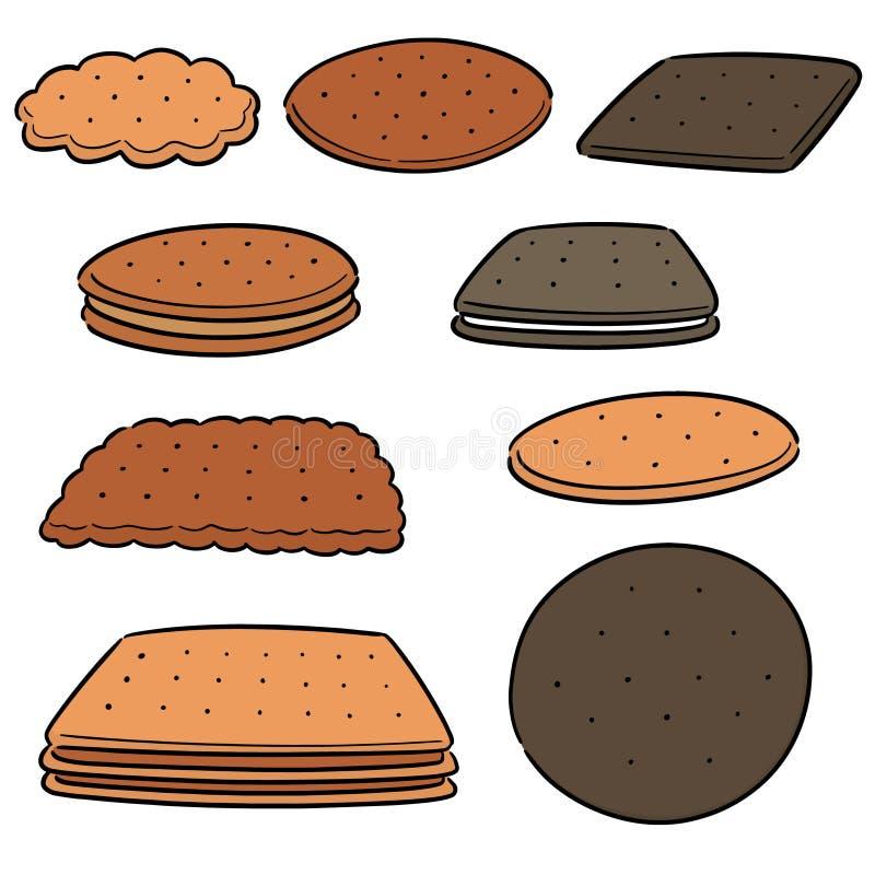 Vektorupps?ttning av kakor och kex royaltyfri illustrationer