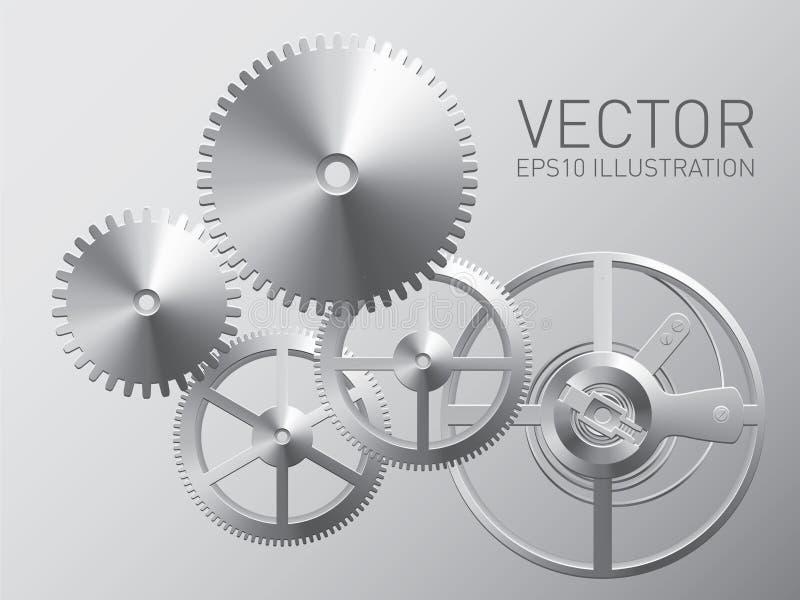 Vektorurverk med metallkugghjul och kugghjul royaltyfri illustrationer