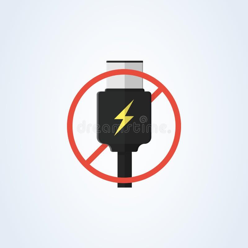 Vektorusb-typ-c och USB-c laddning framlänges borttagningsUSB-c laddning varnande information royaltyfri illustrationer