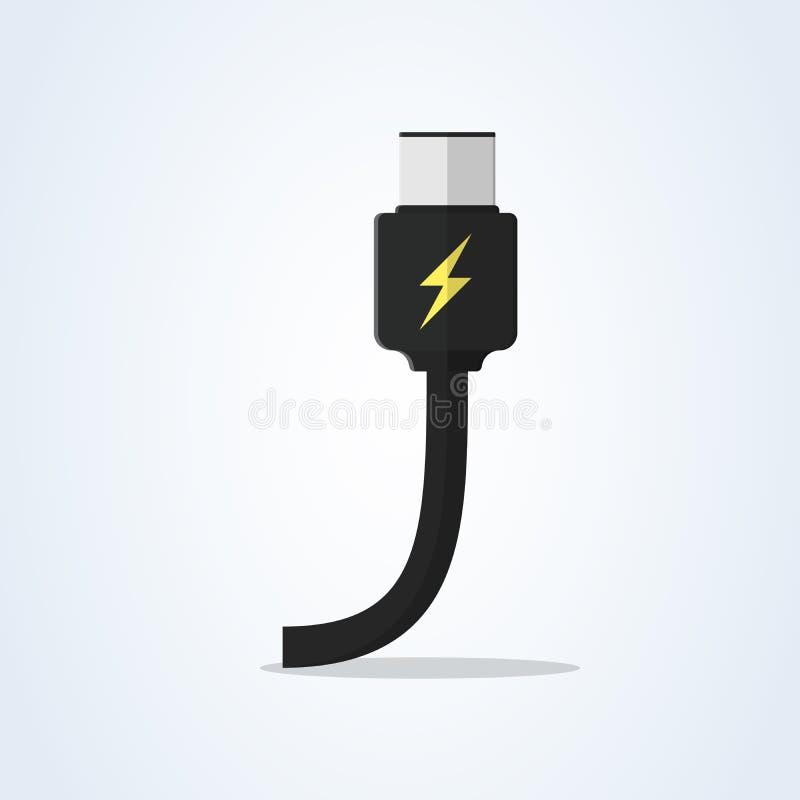 Vektorusb-typ-c och USB-c laddning framlänges uppladdareillustrationkabel royaltyfri illustrationer