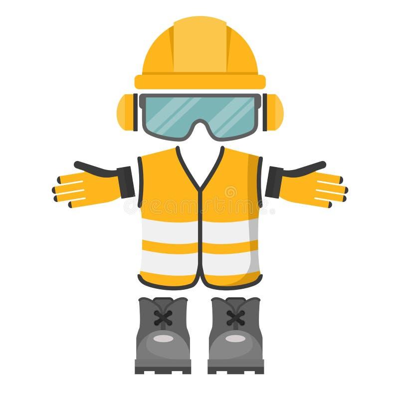 Vektorutformning av personlig skyddsutrustning för arbete Arbetsmiljö royaltyfri illustrationer