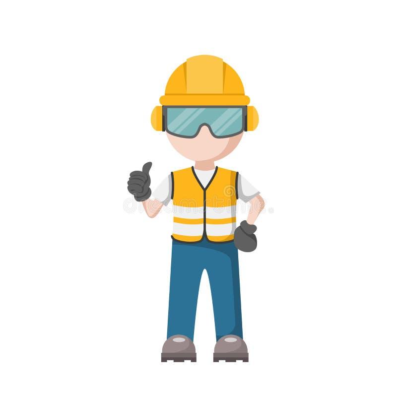 Vektorutformning av personlig skyddsutrustning för arbete Arbetsmiljö stock illustrationer