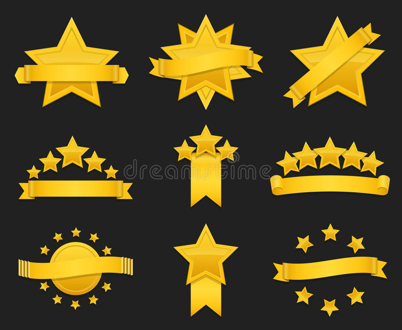 Vektorutmärkelseband med den guld- stjärnan royaltyfri illustrationer