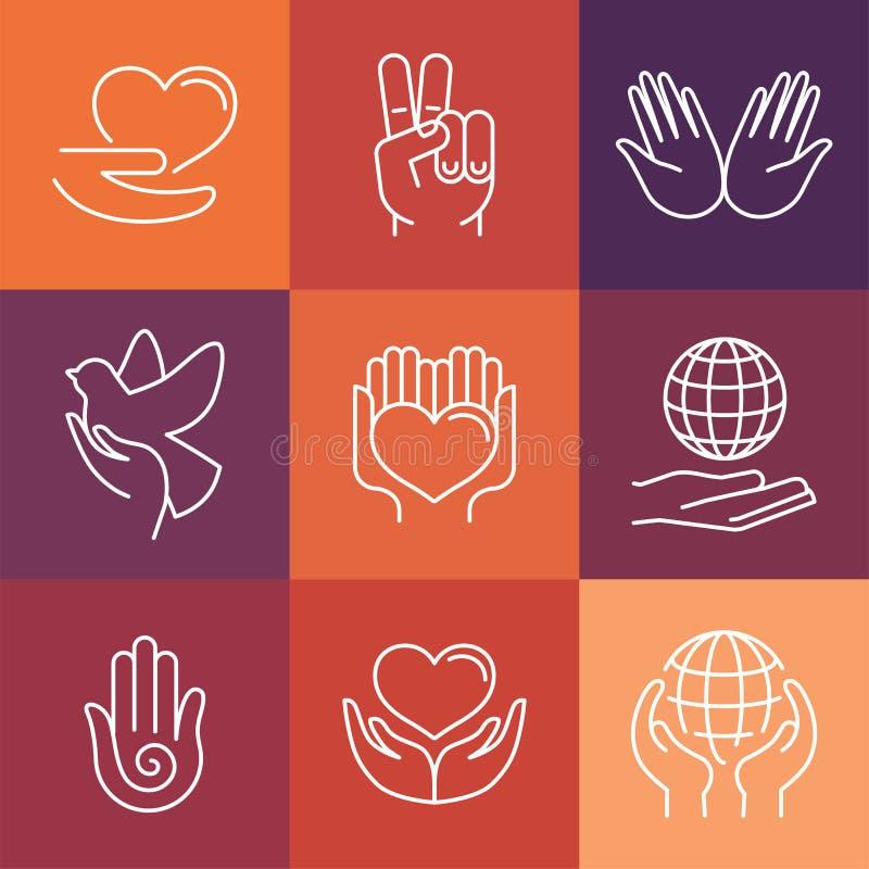 Vektorvälgörenhetlinje logoer och tecken royaltyfri illustrationer