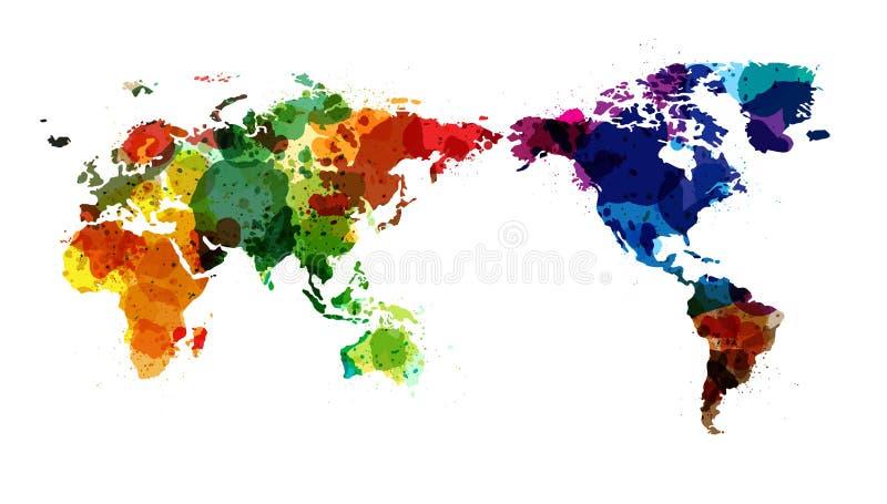 Vektorvärlden kartlägger vattenfärg vektor illustrationer