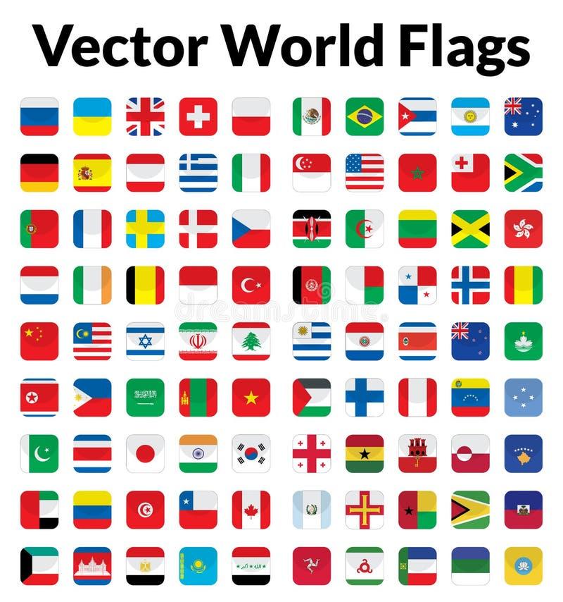 Vektorvärldsflaggor vektor illustrationer